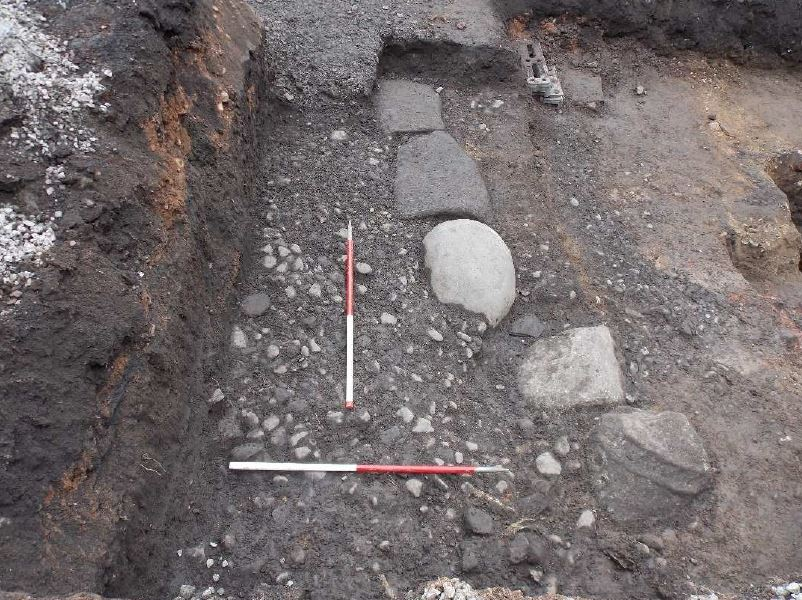 Kerbstones and stone surface of a substantial Roman road at Carlisle Roman Bathhouse   Photo © Wardell Armstrong